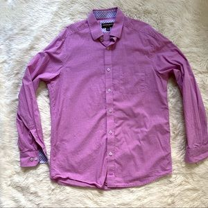 Johnston & Murphy Pink Grid check plaid shirt